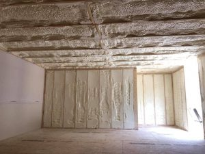 Spray foam installed in walls and ceiling