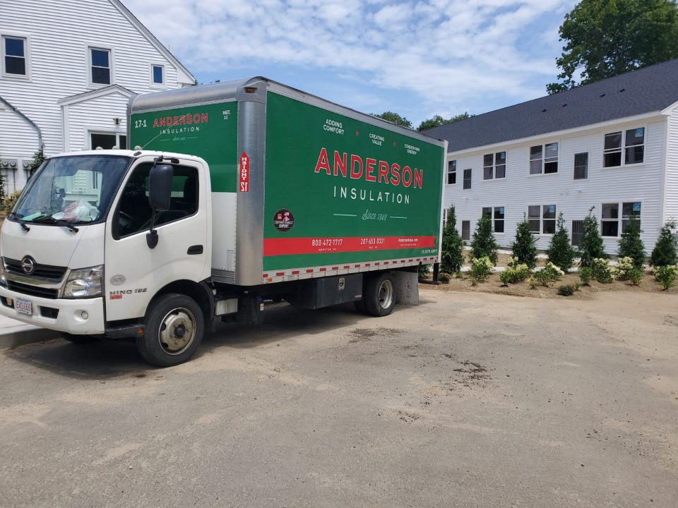 anderson insulation truck outside of home